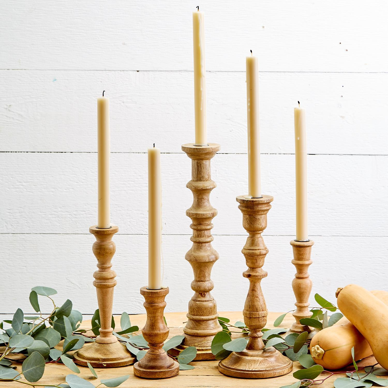 Turned Natural Wood Candleholder, 5 Styles