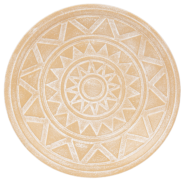 "Round Embossed Terracotta Finish Metal Wall Decor, 3 Styles, 11 3/4"" Dia."