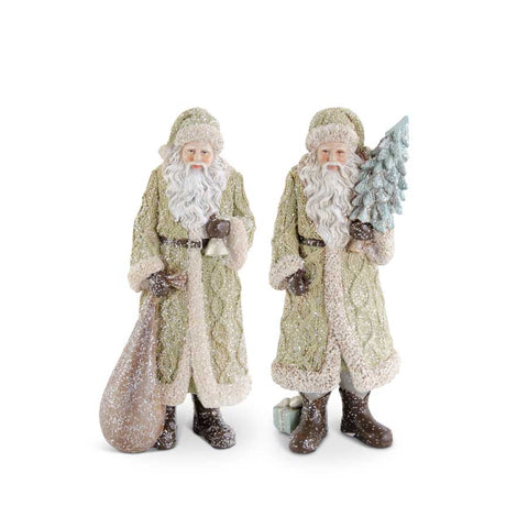 Santa in Olive Green Coat, 2 Styles