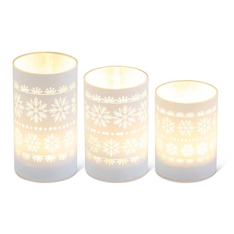 Snowflake Design White LED Glass Candle Votives, 3 sizes