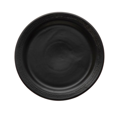 "Black Stoneware Plate with Textured Rim, 10 1/4"" Dia."