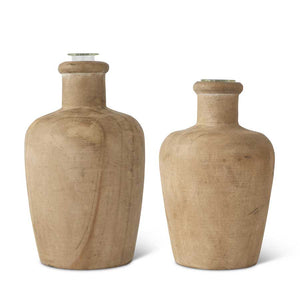 Pine Wood Bud Vases with Glass Insert