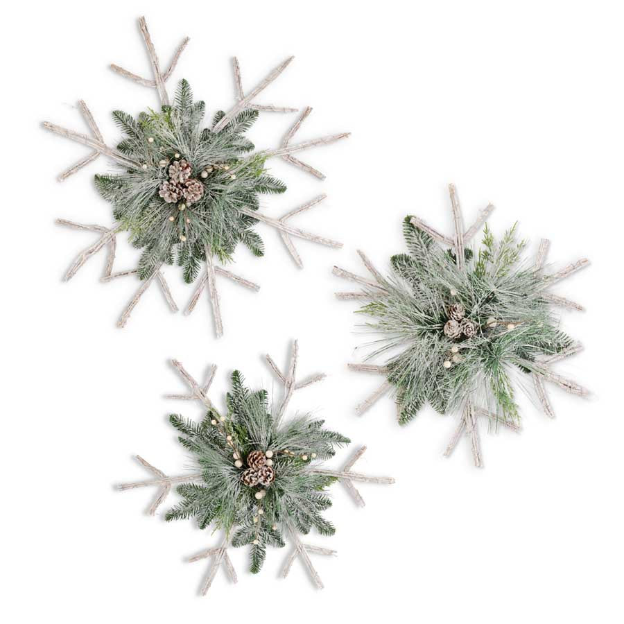 Whitewashed Twig Snowflake, 3 Sizes