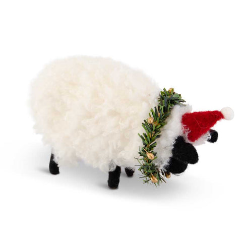 Wool Christmas Sheep with Santa Hat and Wreath