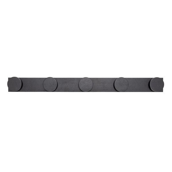 "Black Modern Design 10 Hook Rubberwood Wall Coat Rack, 35 1/2""L"