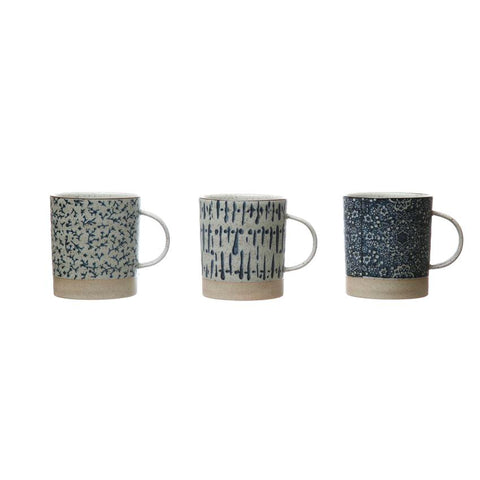 Hand-Stamped 16 oz. Stoneware Mug, Blue & Cream Color, 3 Styles