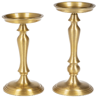 Brush Gold Pillar Holders, 2 Sizes