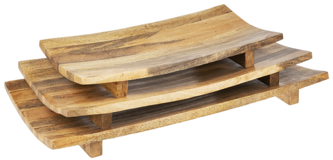 Curved Natural Mango Wood Tray, 3 Sizes