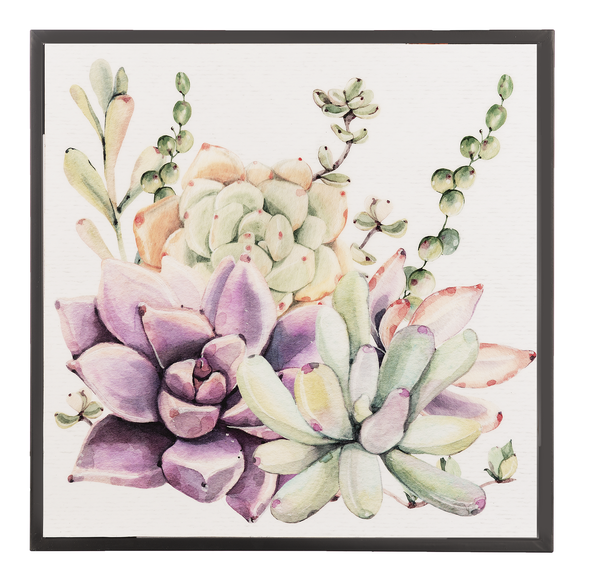 Watercolor mixed succulent wall decor in pastel colors.