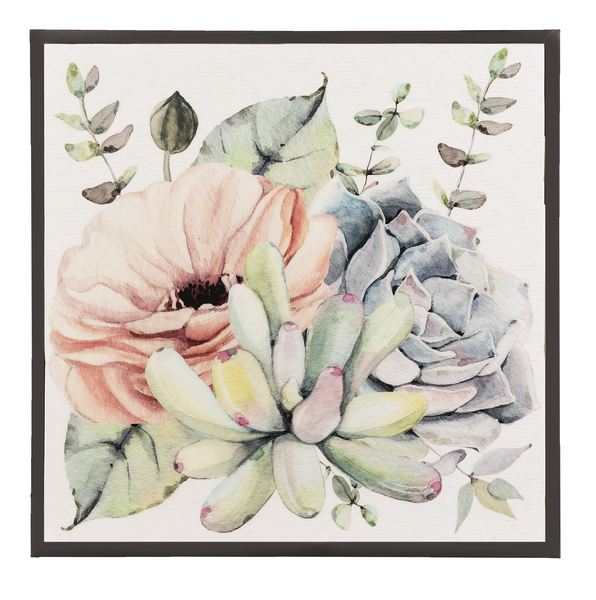 Pastel watercolor bloom with succulents and eucalyptus.