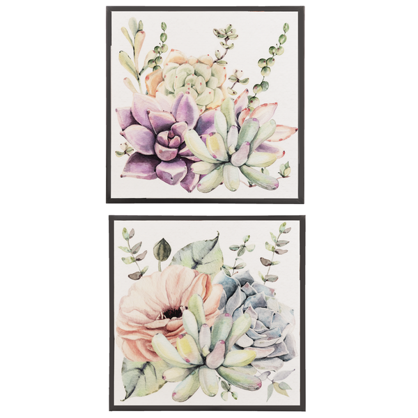 Watercolor Succulents & Blooms Wall Decor