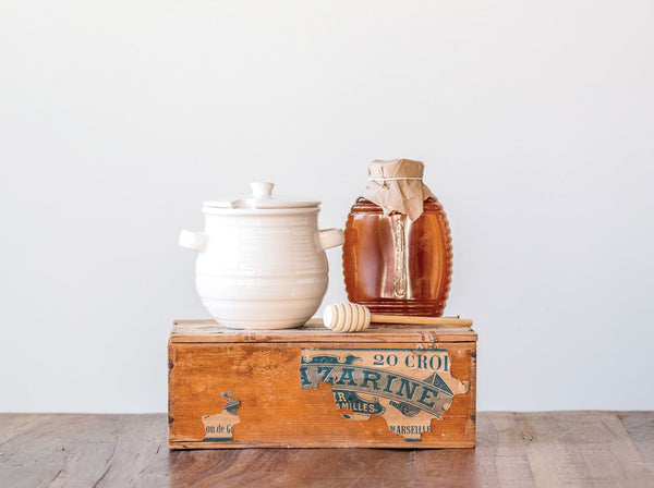 Stoneware Honey Jar w/ Wood Dipper, Set