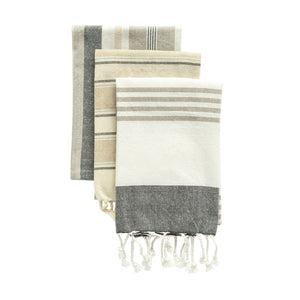 Neutral Cotton Striped Tea Towels, Set of 3