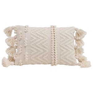 Woven Cotton Textured Lumbar Pillow w/ Pom Poms and Tassels, Cream Color