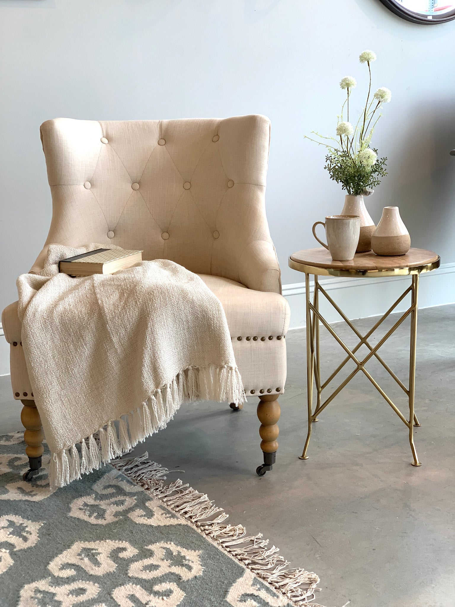 Quilted Back Linen Accent Chair