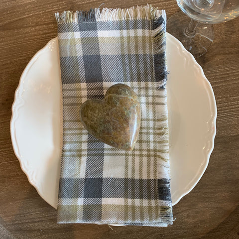 Fringed Plaid Cotton Napkin, set of 4 - the Bower decor market  at The Highlands Wheeling WV