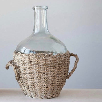 "12-1/2""H Glass Bottle in Woven Seagrass Basket w/ Handles"