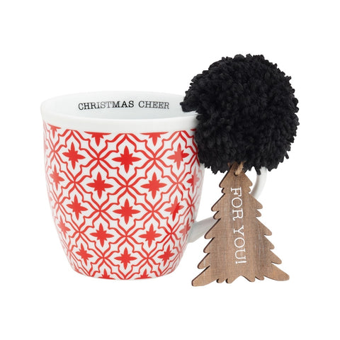 Red Pattern Christmas Cheer Mug with Tree Gift Tag Ornament