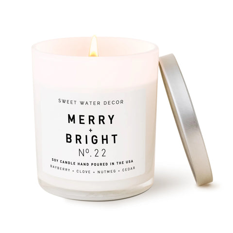 Merry & Bright- White Jar Candle with Silver Lid