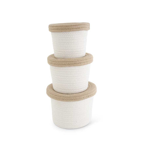 White Cotton Rope Baskets with Lids, set of 3
