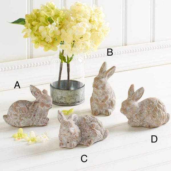 "Whitewashed Ceramic Bunnies, 4""L"