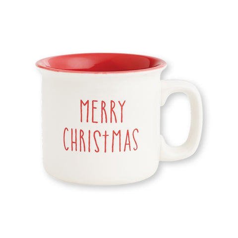 Merry Christmas Engraved Camp Mug, 15oz. White and Red
