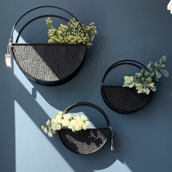 Round Hammered Black Metal Wall Planter