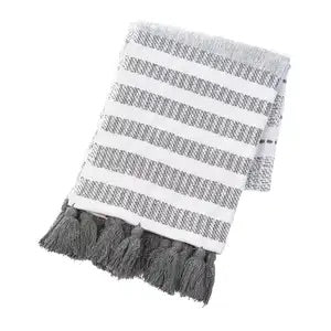 Cream Gray Striped Throw with Tassels