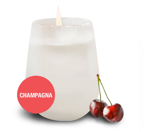 Saluté Champagna Candle- in Frosted Stemless Wine Glass