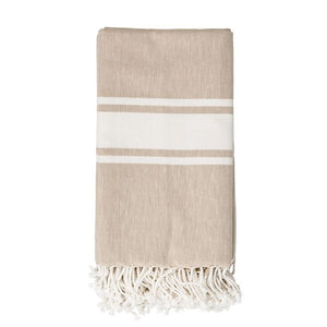Beige with Ivory Stripes Fringed Woven Cotton Throw - Bower on Market
