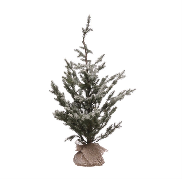 Icy Pine Christmas Tree with Burlap Wrapped Base- Faux 35 1/2""