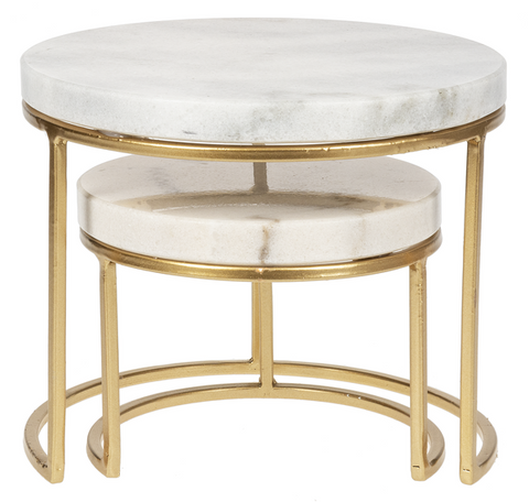 White Marble Cake Serving Stand, Gold Finish, Set of 2