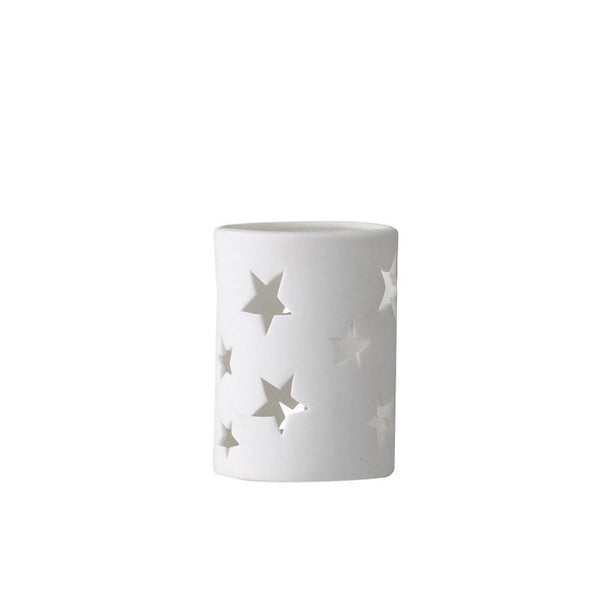 Porcelain Votive Holder w/ Cutout Stars, White