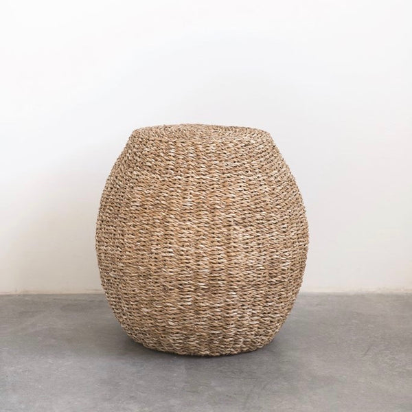 Hand-Woven Natural Seagrass Stool