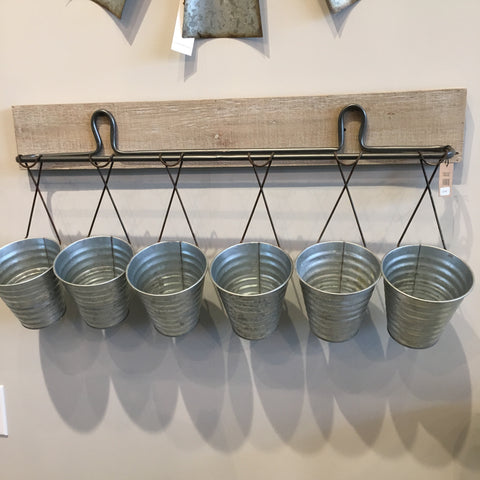 "31-1/2""L x 6-1/2""W x 15-1/4""H Wood/Metal Wall Decor w/ 6 Buckets - Bower on Market"