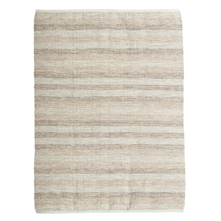 woven jute rug in earth tone stripe 4' x 6' rectangular rug