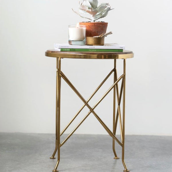 Round Wood and Metal Table with Brass Finish