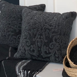 "Black Damask Pillow 20"" - the Bower decor market  at The Highlands Wheeling WV"
