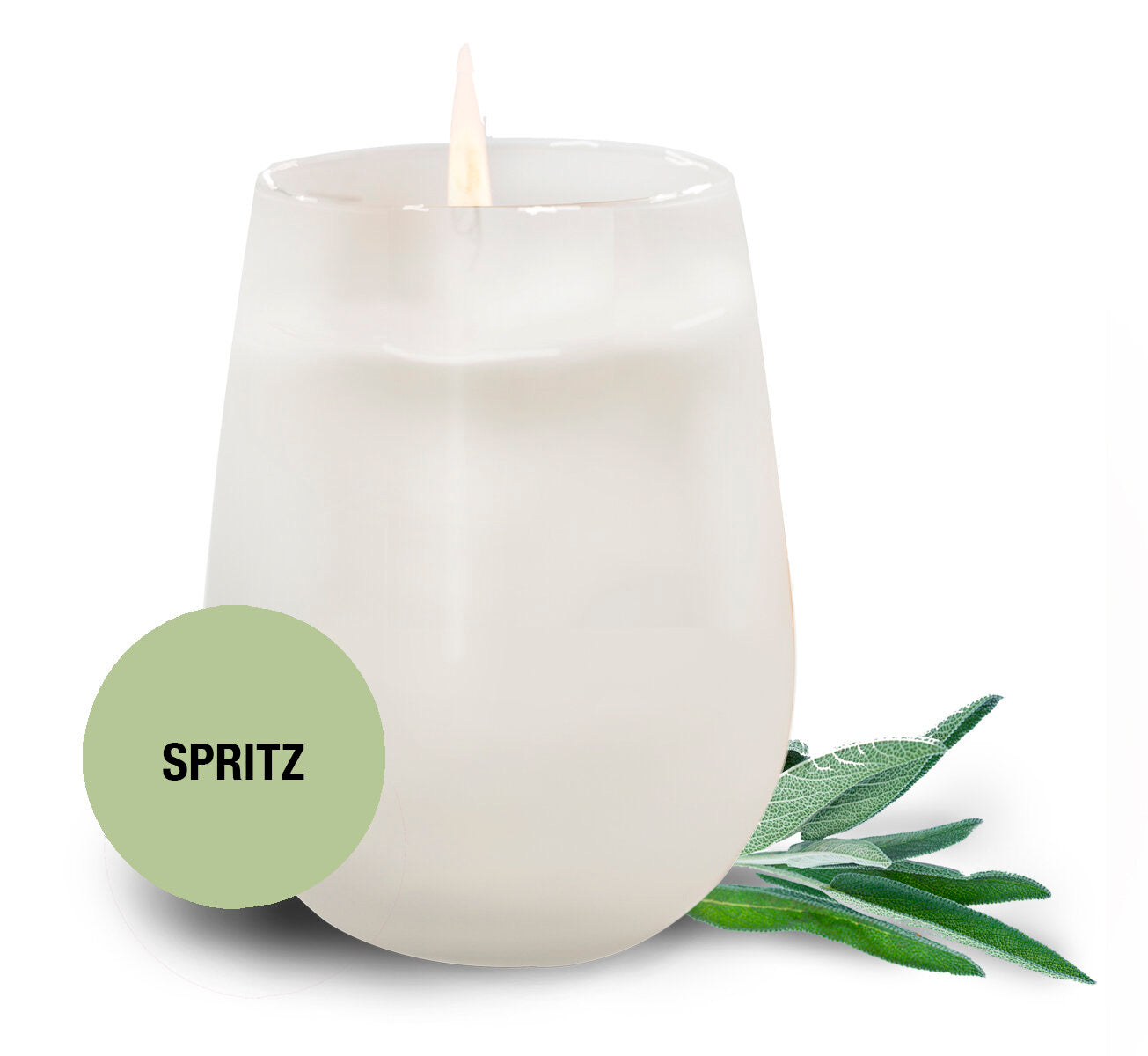 Saluté Spritz Candle-  in Frosted Stemless Wine Glass