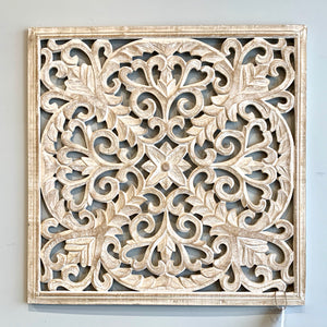 White Washed Carved Wall Décor