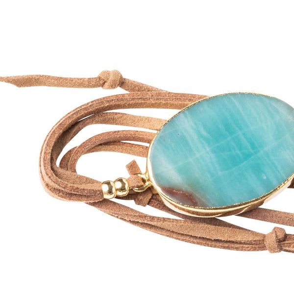 Suede/Stone Wrap Bracelet/Necklace- Amazonite/Gold/Stone of Courage