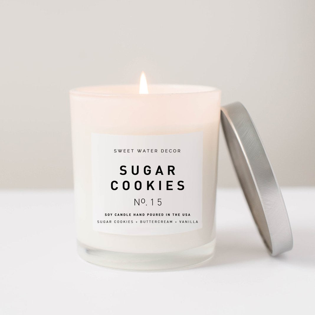 Sugar Cookies- White Jar Candle with Silver Lid