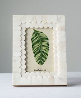 "6""L x 8""H MDF & Bone Photo Frame (Holds 4"" x 6"" Photo)"