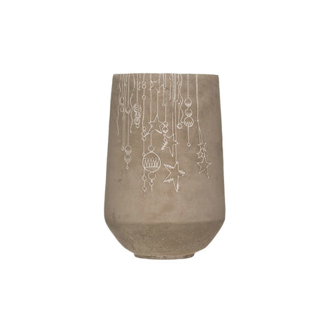 Holiday Cement Planter with Debossed Ornament Design