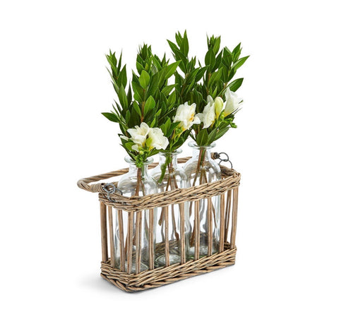 Glass Bottle Vases in Woven Wicker Basket