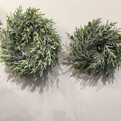 "Snowy Juniper Wreath, 17"" & 21"" Christmas decor the Bower Wheeling, WV"