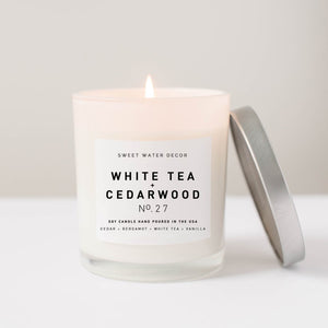 White Tea + Cedarwood- White Jar Candle with Silver Lid