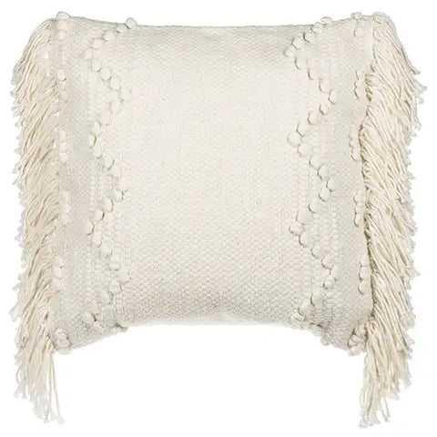 Cream Woven Pillow with Fringe