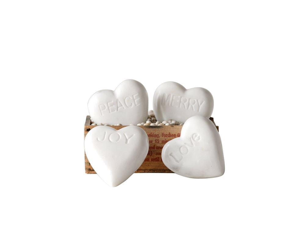 White Marble Carved Word Hearts