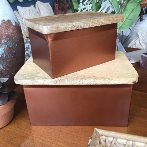 Metal Box w/ Wood Lid, Copper Finish - Bower on Market